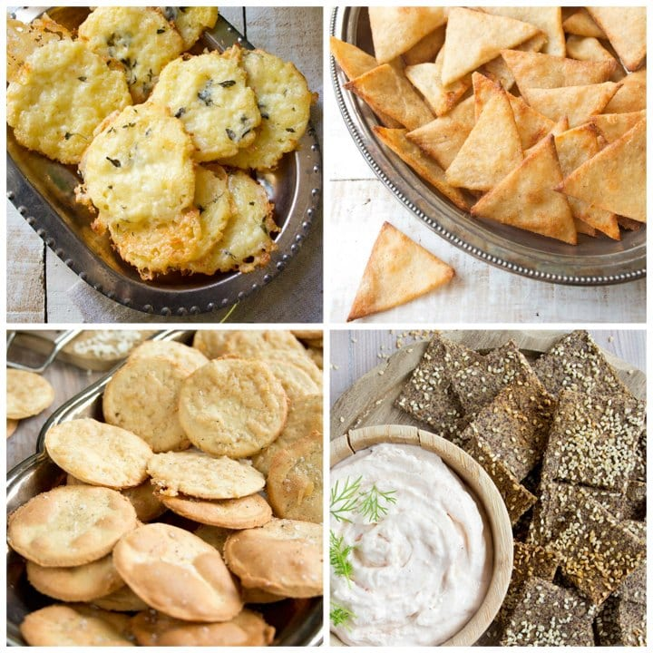 cheese thyme crackers, tortilla chips, almond flour crackers and flax crackers