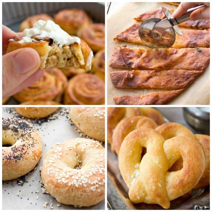 4 low carb recipes with fathead dough - cinnamonrolls, garlic bread, bagels, pretzels
