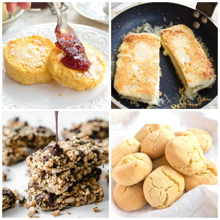 muffins, cheese toastie, keto granola bars and almond flour biscuits