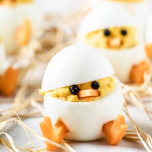 deviled egg chicks on straw