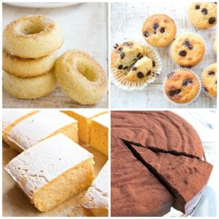 a collage of sugar free donuts, chocolate chip muffins, lemon cake bars and a chocolate cake