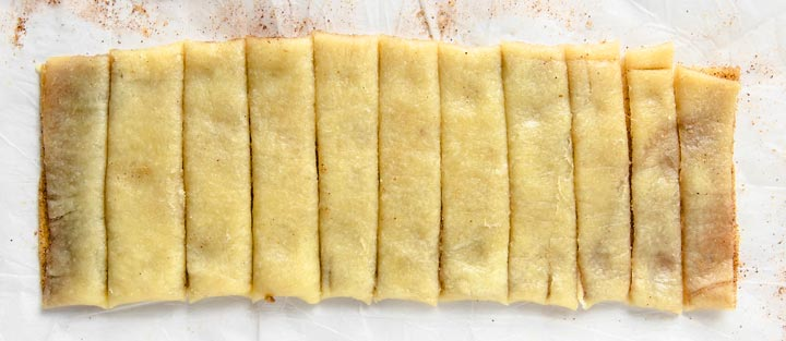 sliced dough rectangle