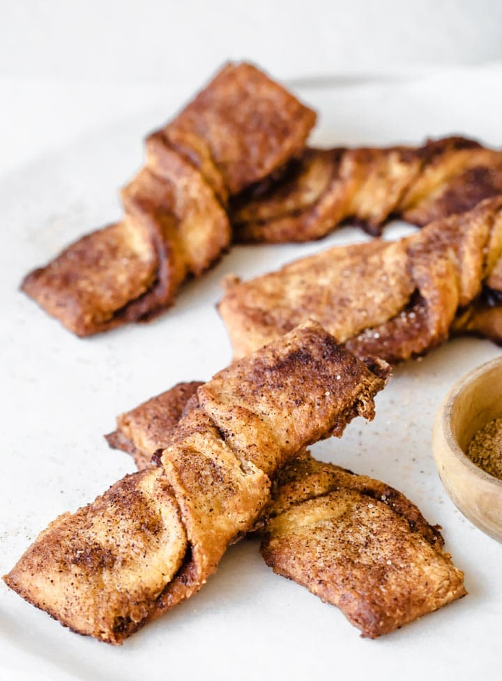 keto snickerdoodle twists on a plate