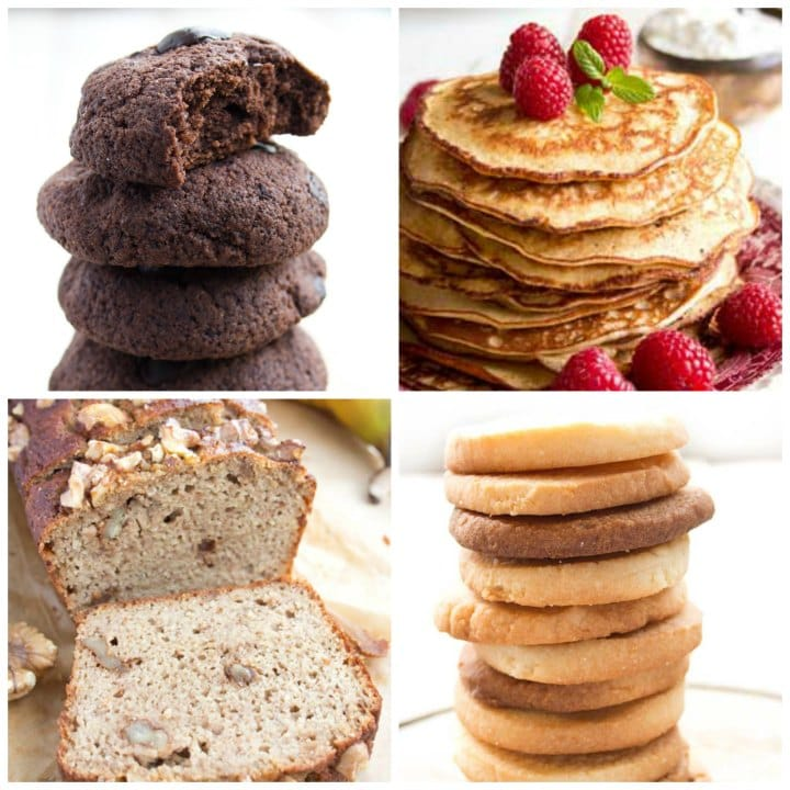 a collage of chocolate and sugar cookies, pancakes and banana bread