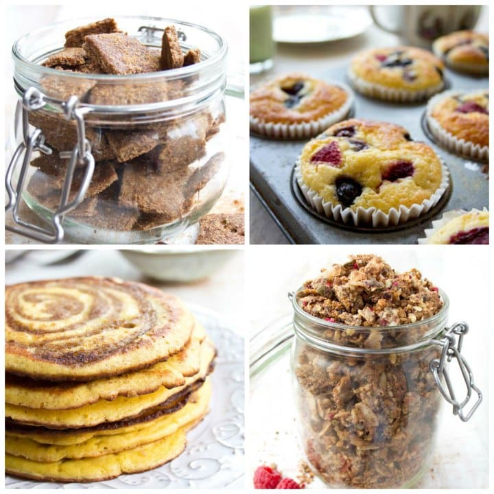 cinnamon crunch cereal, muffins, a stack of pancakes and low carb granola in a jar
