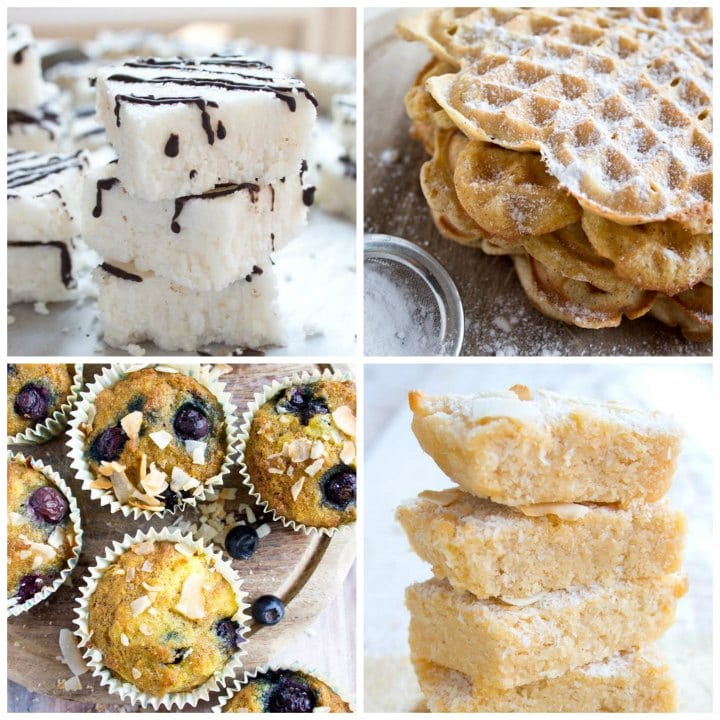 a stack of coconut bars, waffles, blueberry muffins and coconut blondies