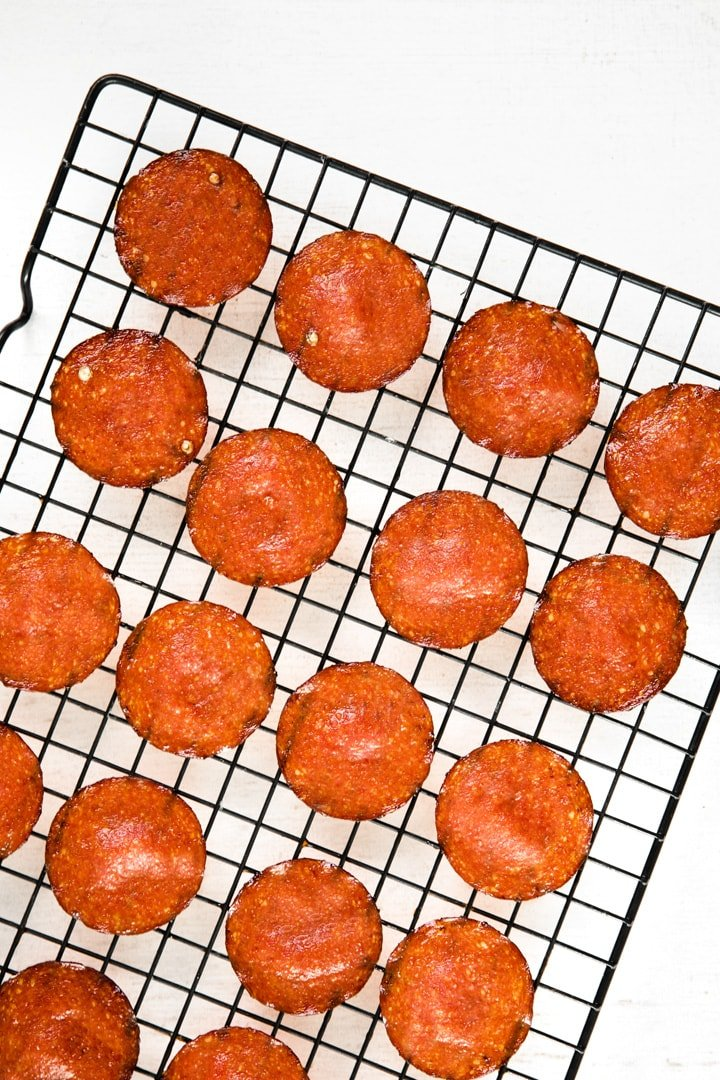 pepperoni chips on a wire rack
