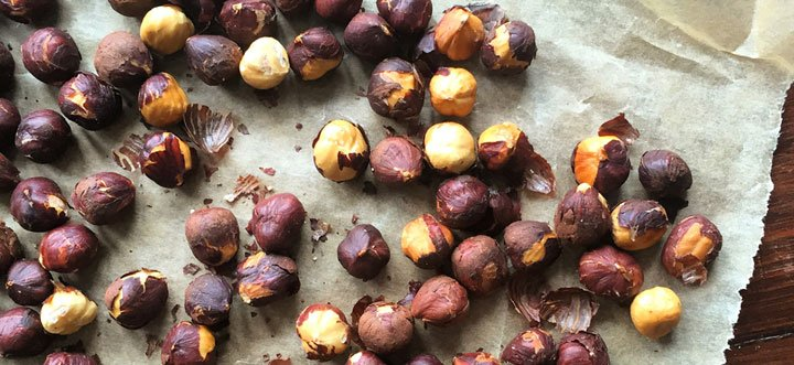hazelnuts with skins on baking paper