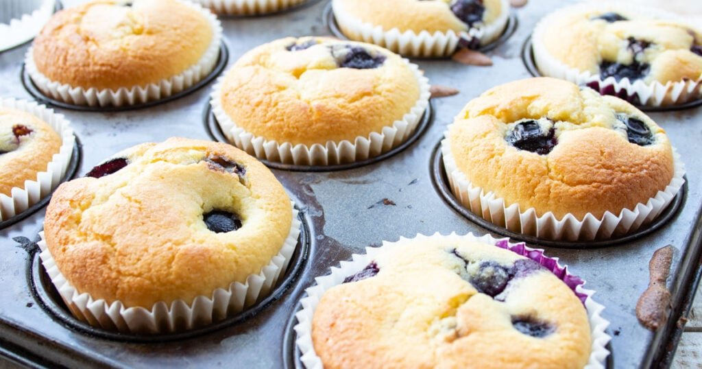 blueberry keto muffins in a pan