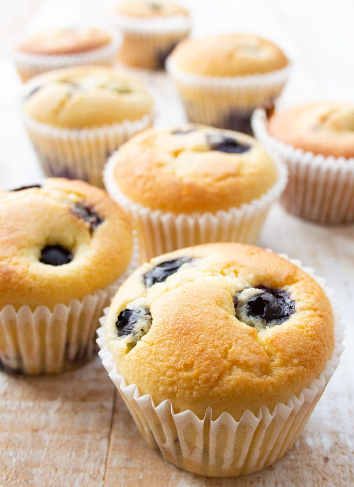 keto blueberry muffins in white paper cups