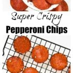 baked pepperoni chips on a slotted spoon and lined up on a wire rack