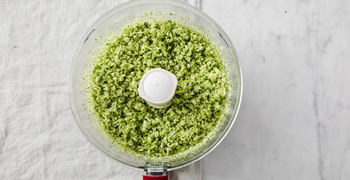 riced broccoli in a food processor bowl