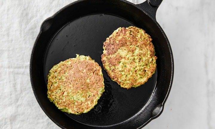 fritters in a frying pan