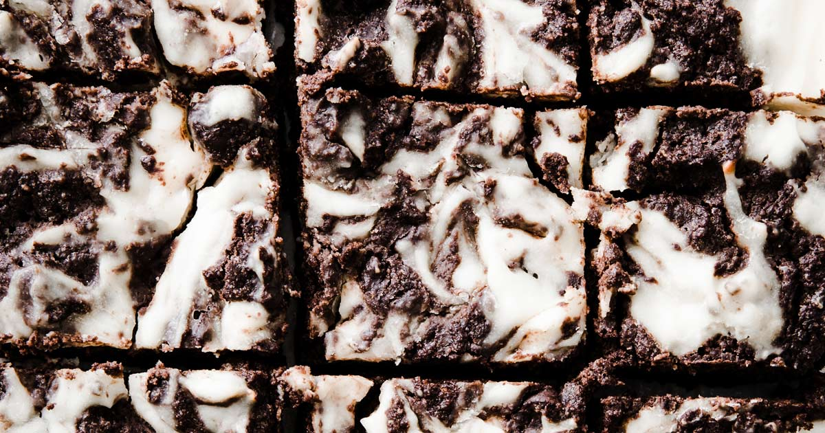 cheesecake brownies cut into squares