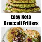 a stack of broccoli fritters and broccoli fritters scattered on a plate