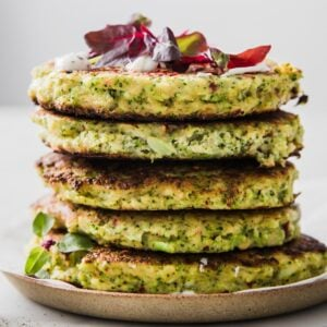a stack of keto broccoli fritters