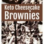 keto cheesecake brownies cut into squares