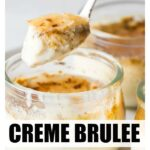 a spoon filled with creme brulee topped with a crispy sugary crust