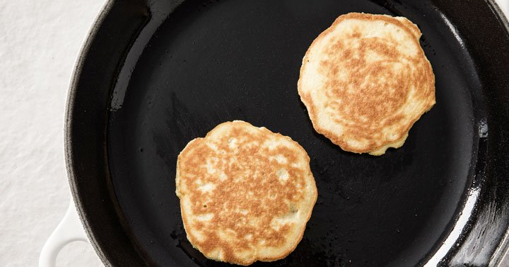 two pancakes in a frying pan