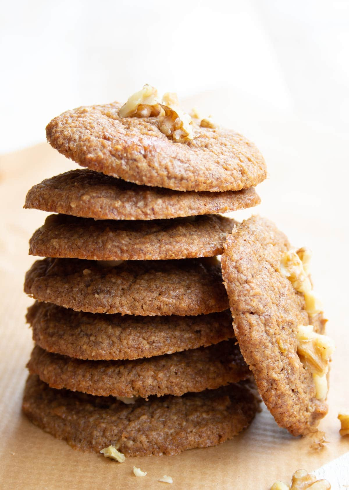 a stack of healthy banana cookies