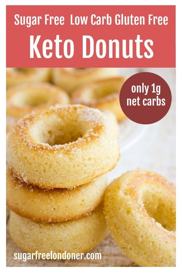 a stack of 3 keto donuts and one donut leaning against the stack.