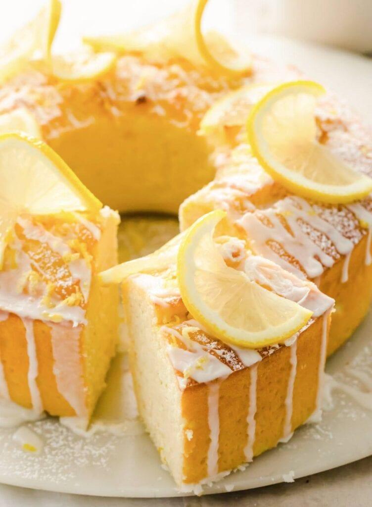 keto lemon pound cake topped with lemon glaze