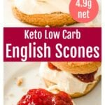 keto scones sliced in half and filled with whipped cream and strawberry jam