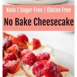 a slice of keto no bake cheesecake decorated with berries