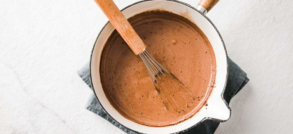 chocolat mix in a saucepan and a whisk
