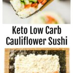 a sushi roll held with chopsticks and a nori sheet with cauliflower rice, salmon and vegetables