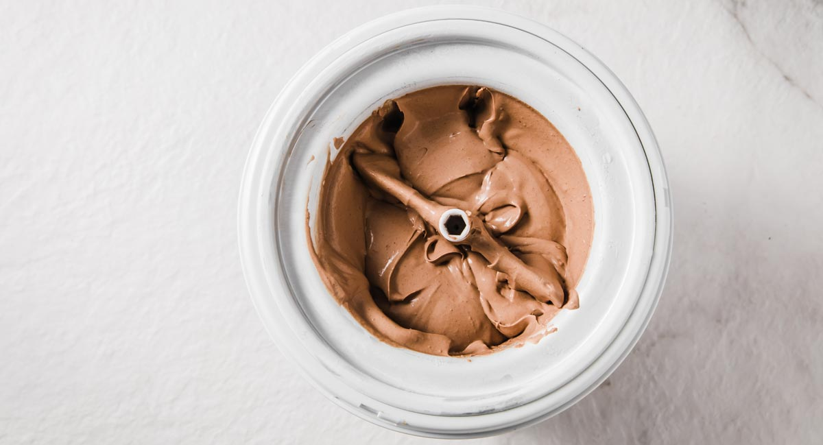 chocolate ice cream in an ice cream maker