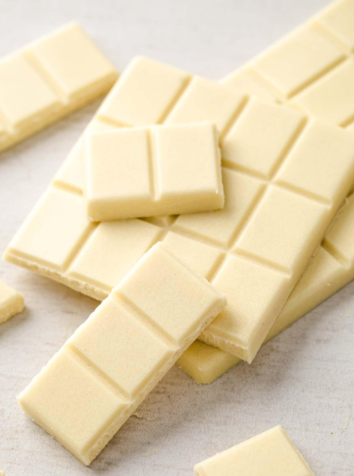 squares of sugar free white chocolate