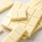 stacked squares of sugar free white chocolate