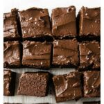 avocado brownie squares topped with chocolate frosting
