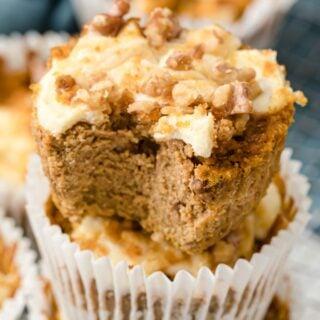 keto pumpkin cheesecake muffins stacked