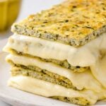 """a stack of keto grilled cheese made with zucchini """"bread"""""""