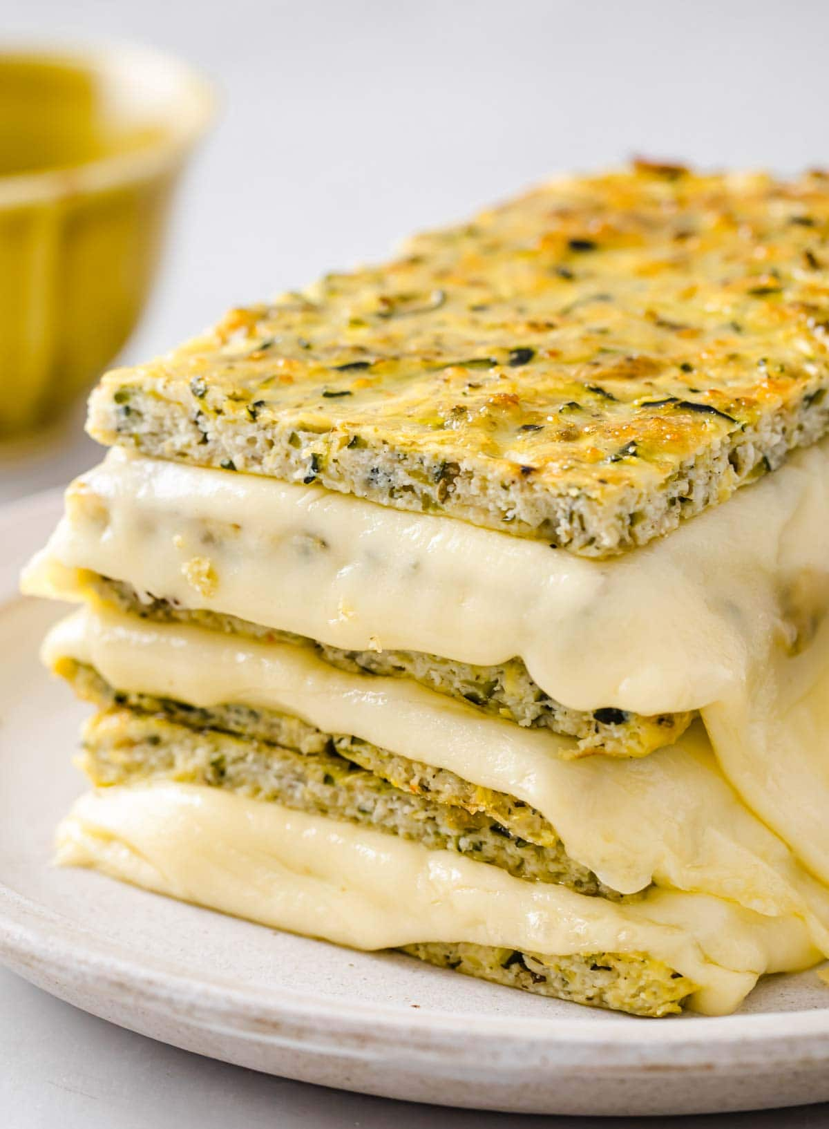 a stack of keto zucchini grilled cheese sandwiches