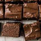 keto avocado brownie squares and one square lying on the side