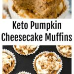 a pumpkin muffin with a cheesecake swirl and more muffins in a muffin pan
