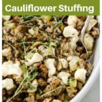 cauliflower stuffing decorated with herbs