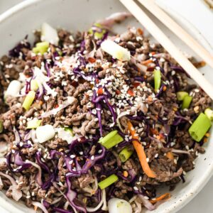 keto crack slaw made from ground beef and stir fried cabbage mix on a plate