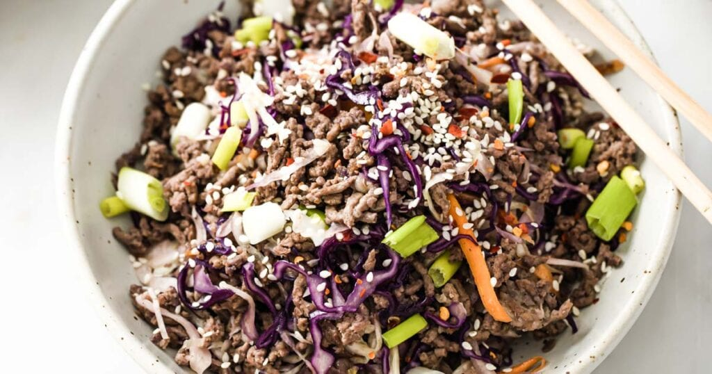 stir fried ground beef and cabbage