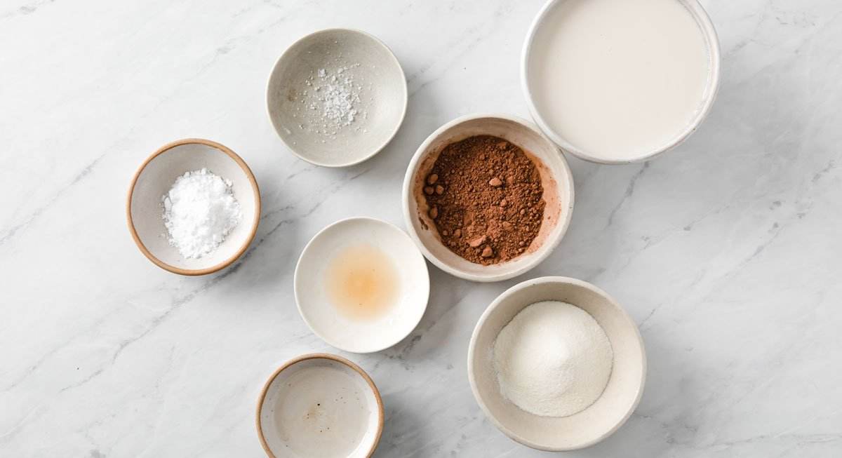 ingredients for hot chocolate in bowls