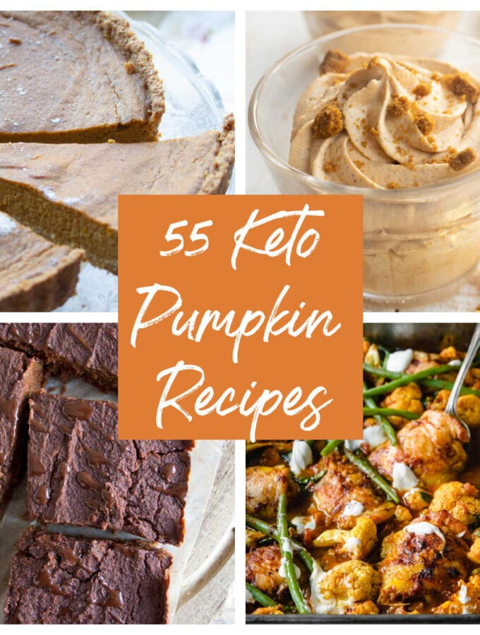 a collage of 3 sweet and 1 savoury keto pumpkin dishes
