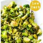 a bowl with parmesan roasted brussels sprouts