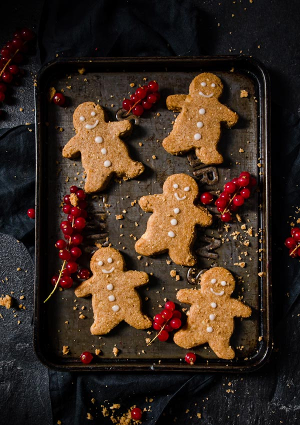 gingerbread cookies on a baking tray
