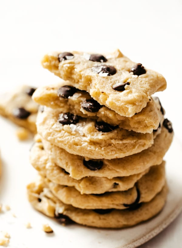 a stack of salted chocolate chip cookies