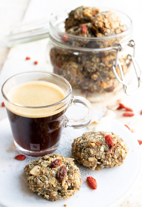 breakfast granola cookies and a cup of coffee