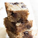 a stack of keto blondies with chocolate chips