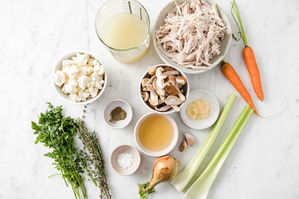 ingredients for leftover turkey soup